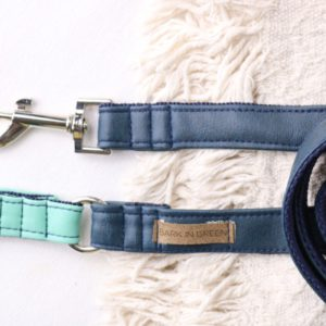 Dog Leash Dark Blue in sustainable and vegan leather