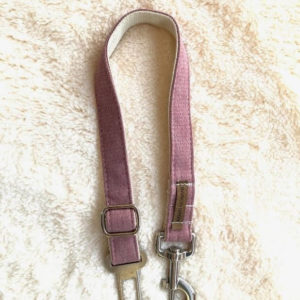 seat belt for pets color pink handmade, hard and safe,  second picture bark in green design for pets