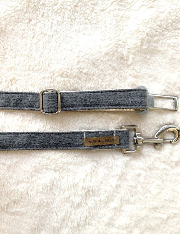 seat belt for pets color grey handmade, hard and safe, second picture bark in green design for pets