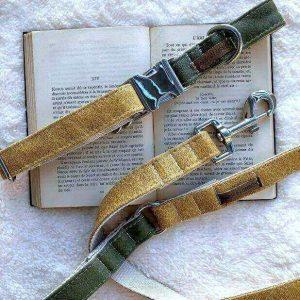 collar y correa para perro color oliva y maiz cuero vegano sustentable